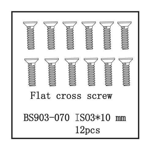 Redcat Racing Flat Cross Crew(ISO3*10) 12 pcs part#BS903-070